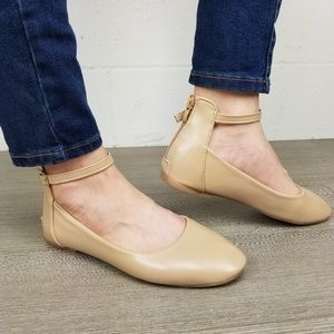 Shoes - Round Toe Beige Ankle Ballerina Flats -K 13152